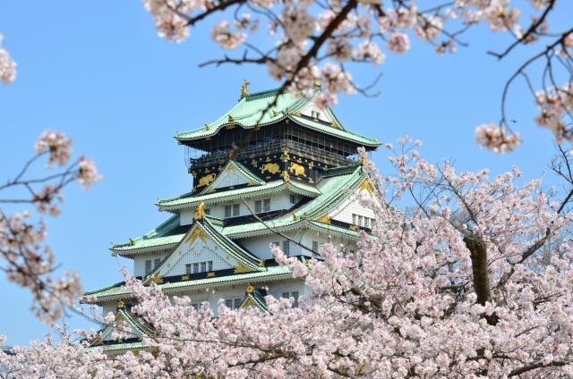 (京橋)大阪城-大阪城と桜_1