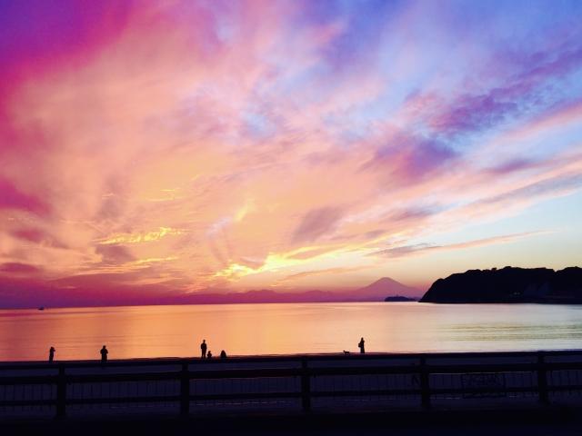 逗子ー逗子海岸の夕焼け