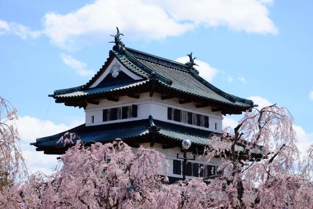 弘前-弘前城本丸と桜